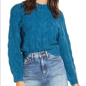 PRMA Cable Knit Teal Sweater NWT